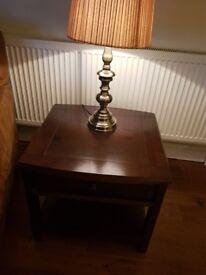 Dark oak lamp table x2