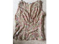Ladies Size 10 Silk Planet Sequined Blouse Top