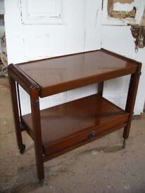 Antique Edwardian fruit wood serving trolley, adjustable tea coffee table, English bar cart, c.1920