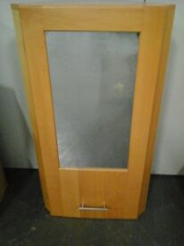Pine corner cabinet with frosted glass door