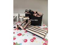 MISS KG SHOES (size 4/EU 37) WITH MATCHING HANDBAG & FASCINATOR