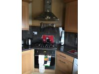 5 ring Gas hob, cooker hood, electric oven and intergrated fridge. All in great working order.