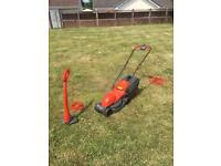 Flymo lawn mower and strimmer