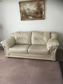 3 Seater Sofa/Settee and 1 chair cream leather