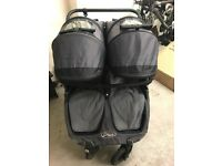 Baby Jogger City Mini GT Double Pram in Black with belly bar and leg covers