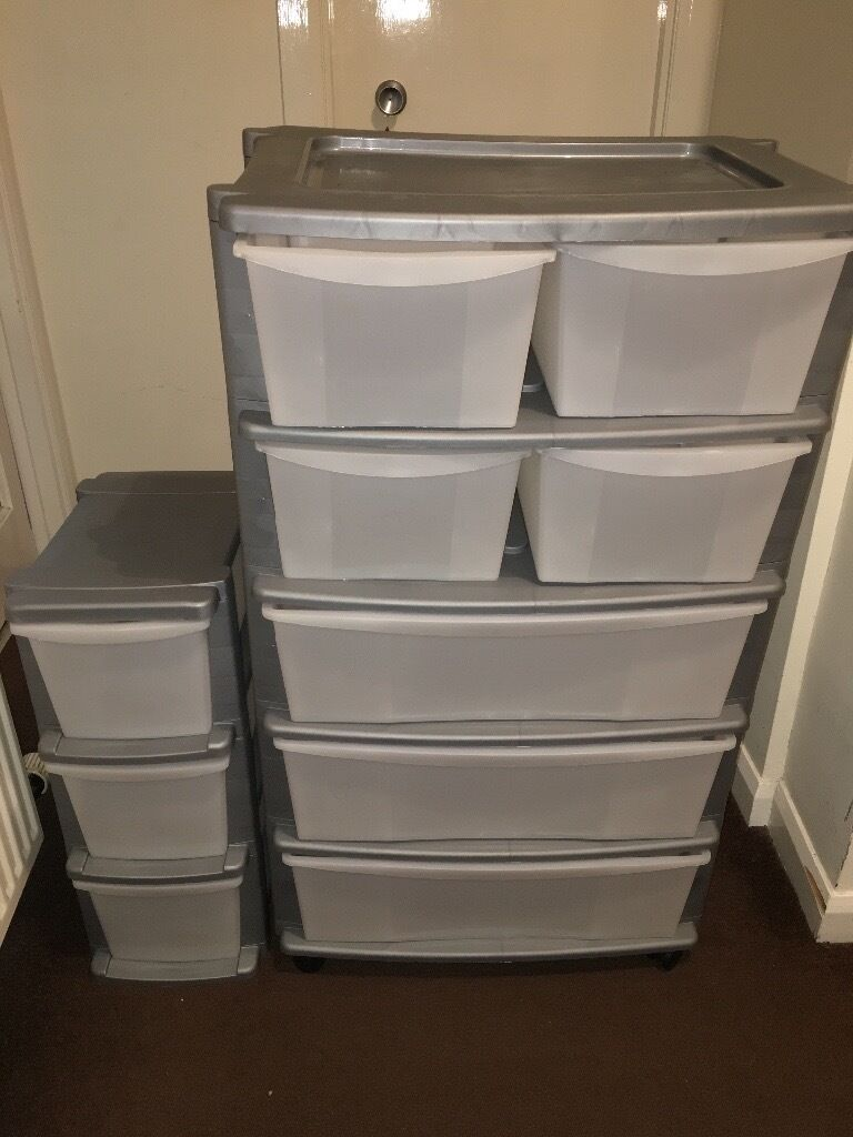 3 and 7 drawer slim tower plastic storage unit silver price is negotiable in aberdeen. Black Bedroom Furniture Sets. Home Design Ideas