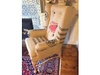 Wingback armchair, coffee sack, natural,hard wearing