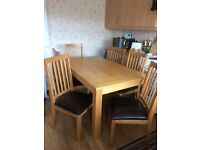 Oak effect dining table & 6 chairs