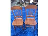 Solid pine high backed chairs. Free delivery