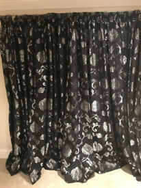 Black and Silver Blackout Curtains