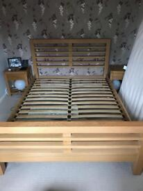 Wooden bed frame and bedside tables