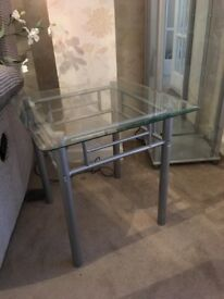 Coffee table glass and silver