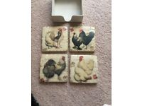 4 heavy chicken coasters and container