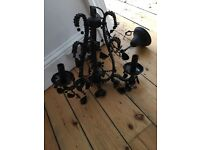 Vintage French style new black glass chandelier light lamp