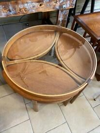 Mid century table teak circular nest of tables, great design and style with glass 80cm top.