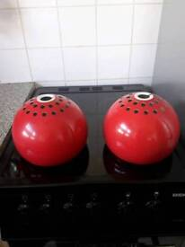2 metal red light shades