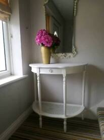 French style shabby chic console hall lamp side table ivory white drawer