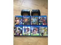 PS4 jet black 500gb. 8 games. 2 controllers
