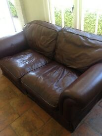 Lovely brown real leather sofa