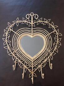 Shabby chic vintage heart mirror with Jewellery hooks