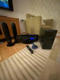 Samsung DVD player, subwoofer and speakers set