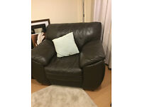 Dark brown leather 3 seater sofa and armchair