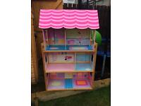 Large wooden doll/barbie house with furniture