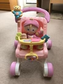 Baby walker pushchair with doll