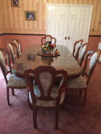Italian Dining Table and 8 Chairs & matching Side board And Corner unit