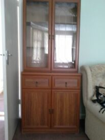 Display Cabinet with Double Cupboard and 2 Drawers