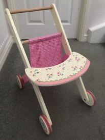 Wooden toy stroller