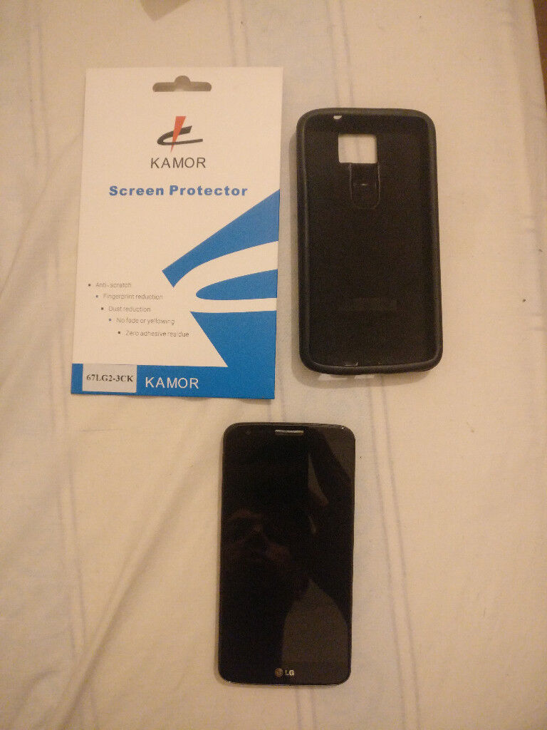 LG G2, D802, 32GB, black, A+ condition, screen protector, unlocked