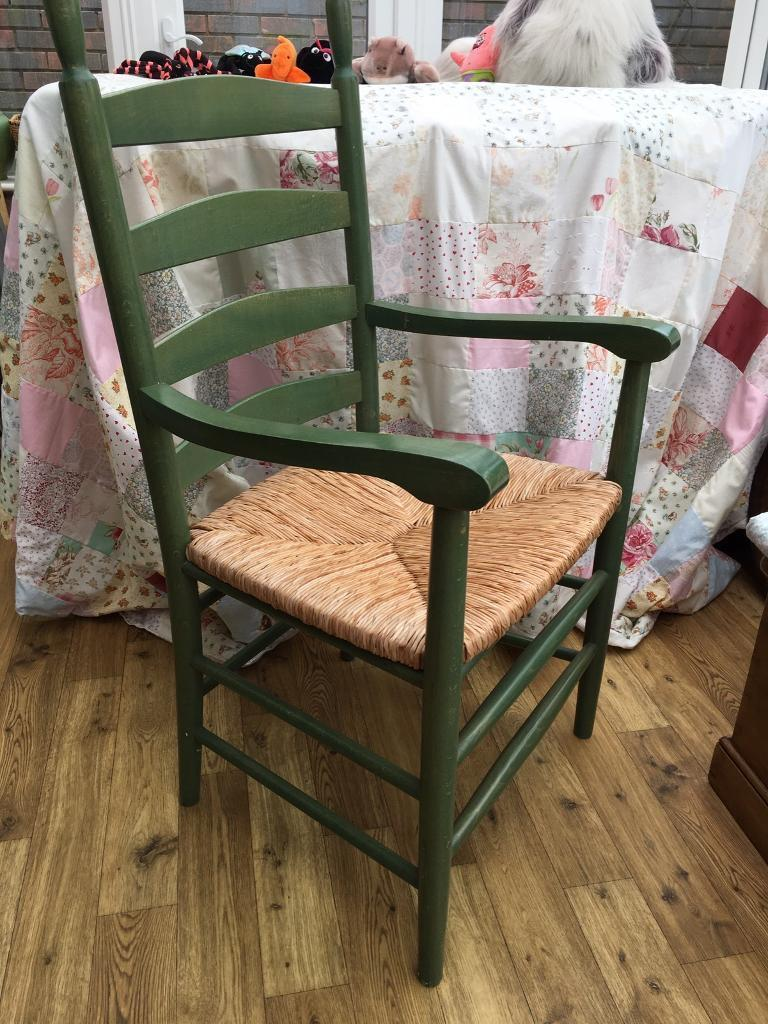 WOODEN CHAIR WITH BASKET WEAVE