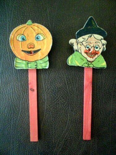(2) Vtg Halloween Noise Makers Squeaker Pumpkin Witch Bellows Wooden Stick RARE!