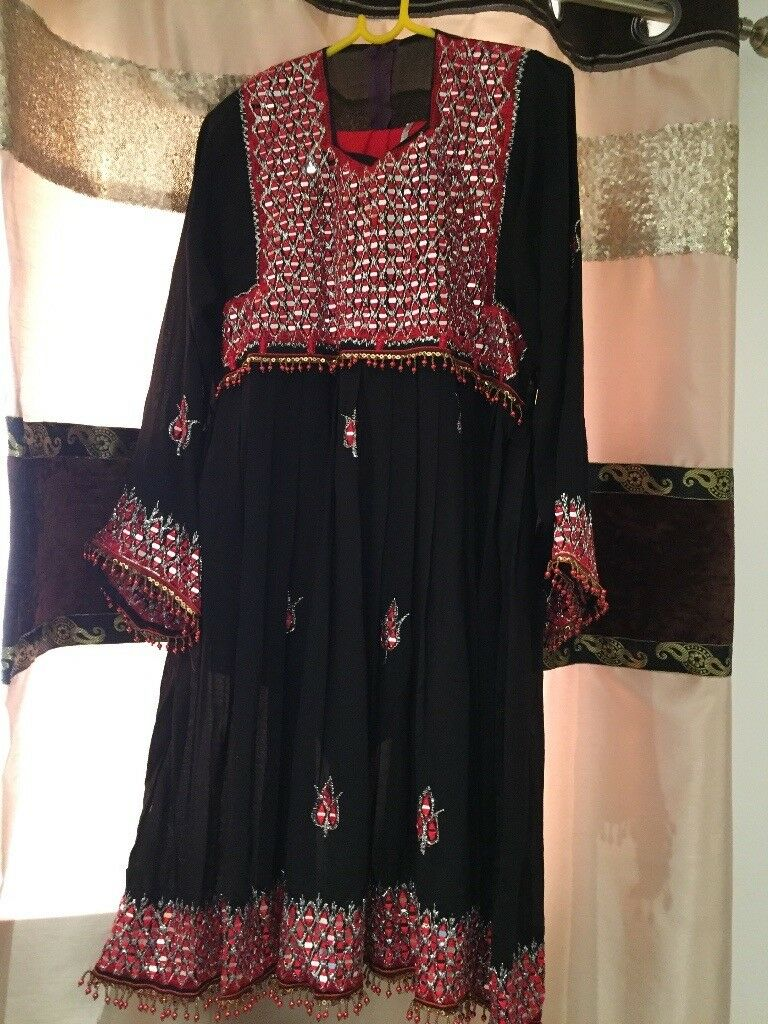 Black and Red Afghani Dress