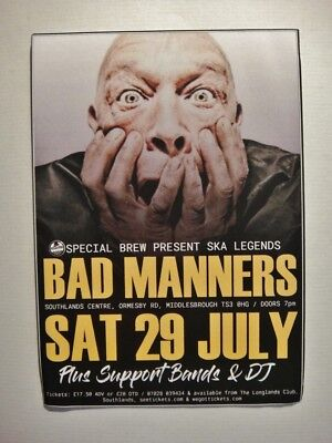 BAD MANNERS A6 FLYER  29/07/17, Southlands Centre, Middlesbrough - POSTCARD (Southlands Center)