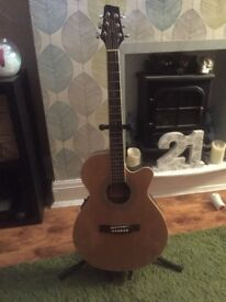 Electro Acoustic Slim Eastcoast jumbo Guitar with built in tuner, and phase + contour button