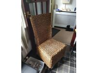 6 wicher dining chairs