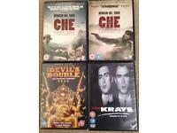 Che parts 1/2, the Krays, Devils Double DVDs