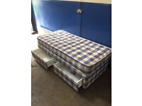 SINGLE BED : WITH MATTRESS : Used twice; excellent condition was £190 new