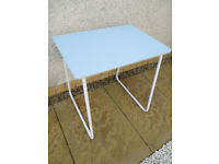 'Vintage school-style' desk, retro. Table with white metal base & blue wood top. Kid's bedroom prop