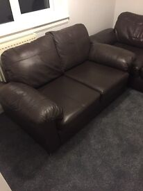 Faux Brown Leather Sofa 3 seater and 2 seater