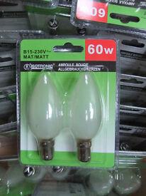 Incandescent candle light bulbs - small bayonet caps SBC.