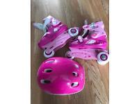 Roller skates c9-c13 and helmet