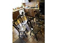 Set of 6 wooden dining chairs (cottage style)