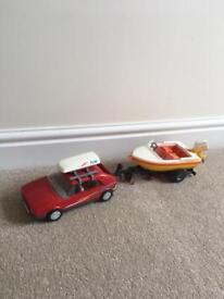 Playmobil car and boat