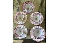 Antique set of 5 teacups, saucers and bowl believed to be Lustreware