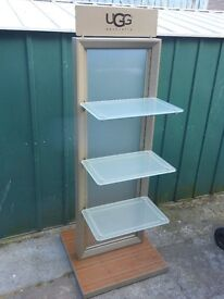 UGG Australia large display stand glass shelves
