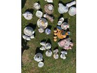 Job lot vintage crockery, cups, saucers, side plates, milk jugs, sugar bowls