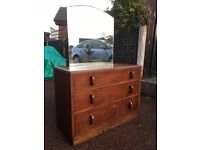 Large Dressing Table - Solid Oak Chest Of Draws - Oak Dressing Table - Vintage Dressing Table
